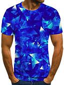 ราคาถูก เสื้อยืดและเสื้อกล้ามผู้ชาย-สำหรับผู้ชาย เสื้อเชิร์ต Street Chic / ที่พูดเกินจริง รอยจีบ / ลายพิมพ์ 3D / กราฟฟิค / ลายตัวอักษร สีน้ำเงิน