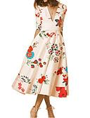 olcso Női ruhák-Női A-vonalú Ruha Virágos Midi