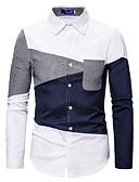 ราคาถูก เสื้อเชิ้ตผู้ชาย-สำหรับผู้ชาย เชิร์ต ธุรกิจ / สง่างาม ลายบล็อคสี / สีพื้น ขาว
