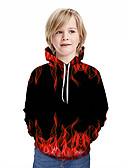 billige Hettegensere og gensere til herrer-Barn Gutt Aktiv Gatemote Geometrisk 3D Lapper Trykt mønster Langermet Hettegenser og sweatshirt Rød