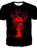 baratos Camisetas & Regatas Masculinas-Homens Camiseta Moda de Rua / Exagerado Estampado, 3D / Caveiras / Tie Dye Preto