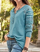 Χαμηλού Κόστους Βραδινά Φορέματα-Γυναικεία T-shirt Μονόχρωμο Λαιμόκοψη V Θαλασσί