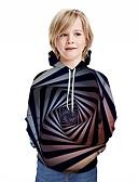 Χαμηλού Κόστους Αντρικές Μπλούζες με Κουκούλα & Φούτερ-Παιδιά Αγορίστικα Ενεργό Κομψό στυλ street Γεωμετρικό 3D Patchwork Στάμπα Μακρυμάνικο Μπλούζα με Κουκούλα & Φούτερ Μαύρο