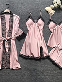 baratos Pijamas-Mulheres Decote em V Profundo Conjunto Pijamas Sólido