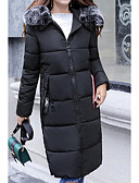 olcso Női hosszú kabátok és parkák-Női Egyszínű Hosszú Anorák, Poliészter Fekete / Arcpír rózsaszín / Katonai zöld M / L / XL