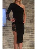 Χαμηλού Κόστους Φορέματα NYE-Γυναικεία Εφαρμοστό Φόρεμα - Μονόχρωμο Ως το Γόνατο