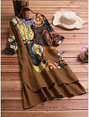 Χαμηλού Κόστους Ανδρικά μπλουζάκια και φανελάκια-Γυναικεία Βασικό Γραμμή Α Φόρεμα - Φλοράλ, Patchwork Ως το Γόνατο