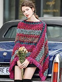 cheap Women's Blouses-Women's Striped / Floral Long Sleeve Cloak / Capes Sweater Jumper, Bateau Fall / Winter Fuchsia / Yellow / Blue One-Size