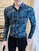 billige Jumpsuits og sparkebukser til damer-Skjorte Herre - Blomstret Blå