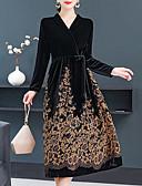 olcso Női ruhák-Női Vintage Elegáns Hüvely Swing Ruha - Nyomtatott, Virágos Mértani Midi