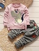 billige Baby Gutter topper-Baby Gutt Grunnleggende Trykt mønster Langermet Normal Normal Tøysett Rosa