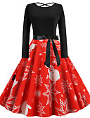 olcso Női ruhák-Audrey Hepburn Ruhák Női Felnőttek Karácsony Karácsony Karácsony Poliészter Ruha