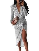 olcso Női ruhák-Női Parti Hüvely Ruha Egyszínű Aszimmetrikus Mély-V