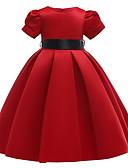 povoljno Haljine za djevojčice-Djeca Djevojčice Jednobojni Božić Kratkih rukava Haljina Red
