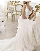 olcso Menyasszonyi ruhák-Sellő fazon V-alakú Seprő uszály Csipke Made-to-measure esküvői ruhák val vel által LAN TING Express