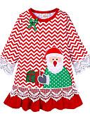 olcso Bébi ruházat-Gyerekek Kisgyermek Lány Aktív aranyos stílus Mikulás Csíkos Karácsony Hímzett Hosszú ujj Térdig érő Ruha Rubin