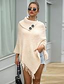 olcso Női pulóverek-Női Egyszínű Hosszú ujj Pulóver Pulóver jumper Fekete / Rubin / Bézs Egy méret