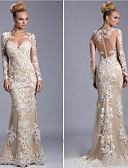 baratos Vestidos de Noite-Sereia Decorado com Bijuteria Longo Tule Transparente / Elegante Evento Formal Vestido 2020 com Apliques