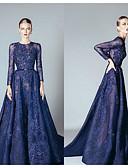Χαμηλού Κόστους Βραδινά Φορέματα-Γραμμή Α Με Κόσμημα Ουρά μέτριου μήκους Δαντέλα / Τούλι Κομψό Επίσημο Βραδινό Φόρεμα 2020 με Χάντρες / Διακοσμητικά Επιράμματα / Ζώνη / Κορδέλα