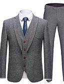 Χαμηλού Κόστους Αντρικά Μπλέιζερ & Κοστούμια-Ανδρικά Στολές, Μονόχρωμο Κλασικό Πέτο Πολυεστέρας Σκούρο γκρι / Γκρίζο / Χακί