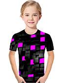 baratos Blusas para Meninas-Infantil Bébé Para Meninas Activo Básico Geométrica Estampado Estampa Colorida Estampado Manga Curta Camiseta Roxo