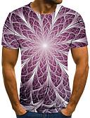 Χαμηλού Κόστους Ανδρικά μπλουζάκια και φανελάκια-Ανδρικά T-shirt 3D Στάμπα Βυσσινί