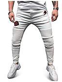ราคาถูก กางเกงผู้ชาย-สำหรับผู้ชาย Street Chic กางเกง Chinos กางเกง - ลายพิมพ์ ขาว XL XXL XXXL