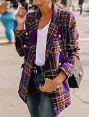 Χαμηλού Κόστους Blazers-Γυναικεία Καθημερινά / Εξόδου Βασικό / Κομψό στυλ street Άνοιξη & Χειμώνας / Φθινόπωρο & Χειμώνας Μακρύ Σακάκι, Γεωμετρικό Ίσιο Κολάρο Μακρυμάνικο Πολυεστέρας Στάμπα Μαύρο / Κρασί / Βυσσινί