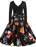 olcso Női ruhák-Női Parti Alap A-vonalú Ruha Színes Térd feletti V-alakú