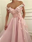Χαμηλού Κόστους Φορέματα Χορού Αποφοίτησης-Γραμμή Α Ώμοι Έξω Μακρύ Σιφόν Λουλουδάτο / χαριτωμένο στυλ Χοροεσπερίδα Φόρεμα 2020 με Διακοσμητικά Επιράμματα / Φιόγκος(οι)