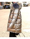 olcso Női hosszú kabátok és parkák-Női Egyszínű Hosszú Kosaras, Akril Fekete / Arcpír rózsaszín / Arany M / L / XL
