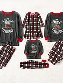 povoljno Obiteljski komplet odjeće-Obiteljski izgled Karirani uzorak Božić Komplet odjeće Sive boje