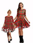 povoljno Obiteljski komplet odjeće-Mama i mene Color block Božić Haljina Crn