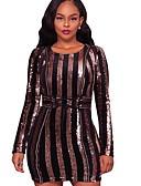 Χαμηλού Κόστους Print Dresses-Γυναικεία Κομψό Θήκη Φόρεμα - Ριγέ Μίνι