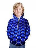 baratos Moletons Para Meninos-Infantil Para Meninos Activo Moda de Rua Geométrica 3D Retalhos Estampado Manga Longa Moleton & Blusa de Frio Azul