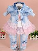 olcso Bébi ruházat-Baba Lány Utcai sikk Színes Hosszú ujj Szokványos Ruházat szett Sárga