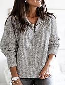 Χαμηλού Κόστους T-shirt-Γυναικεία Μονόχρωμο Μακρυμάνικο Μεγάλα Μεγέθη Πουλόβερ Πουλόβερ Jumper, Λαιμόκοψη V Ανθισμένο Ροζ / Θαλασσί / Καφέ Τ / M / L