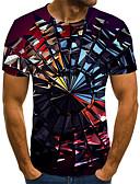 Χαμηλού Κόστους Ανδρικά μπλουζάκια και φανελάκια-Ανδρικά Μέγεθος EU / US T-shirt Κλαμπ Κομψό στυλ street / Πανκ & Γκόθικ Γεωμετρικό / Συνδυασμός Χρωμάτων / 3D Στρογγυλή Λαιμόκοψη Στάμπα Ουράνιο Τόξο / Κοντομάνικο