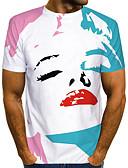 baratos Camisetas & Regatas Masculinas-Homens Camiseta Moda de Rua / Exagerado Estampado, Estampa Colorida / 3D / Gráfico Branco