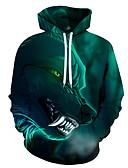 olcso Férfi pólók és pulóverek-Férfi Alkalmi / Mindszentek napja Kapucnis felsőrész 3D / Koponya / Batikolt