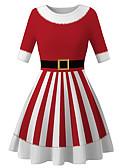 olcso Lány ruhák-Gyerekek Lány Alap aranyos stílus Mikulás Csíkos Színes Karácsony Nyomtatott Hosszú ujj Térdig érő Ruha Rubin