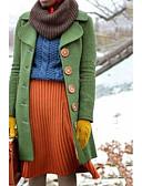 billige Kåper og trenchcoats-Dame Daglig Høst vinter Lang Frakk, Ensfarget Aftæpning Langermet Polyester Grønn