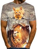 billige T-skjorter og singleter til herrer-Rund hals Store størrelser T-skjorte Herre - Fargeblokk / 3D / Grafisk, Trykt mønster Gatemote / overdrevet Lyseblå / Kortermet