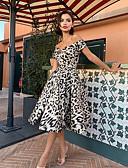olcso Női ruhák-Női Hüvely Ruha Leopárd Midi Fekete-fehér