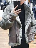 olcso Férfi dzsekik és kabátok-Férfi Napi Szokványos Faux Fur Coat, Egyszínű Spicc gallér Hosszú ujj Poliészter Szürke