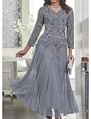 baratos Vestidos para as Mães dos Noivos-Mulheres Delgado balanço Vestido - Renda, Sólido Decote V Longo