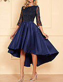 Χαμηλού Κόστους Φορέματα κοκτέιλ-Γραμμή Α Με Κόσμημα Ασύμμετρο Σατέν Κομψό Κοκτέιλ Πάρτι / Επίσημο Βραδινό Φόρεμα 2020 με Χάντρες / Πλισέ