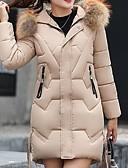 olcso Női hosszú kabátok és parkák-Női Egyszínű Kosaras, Poliészter Fekete / Fehér / Rubin M / L / XL
