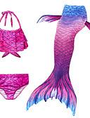 ราคาถูก ชุดว่ายน้ำผู้หญิง-เด็ก เด็กผู้หญิง ซึ่งทำงานอยู่ สไตล์น่ารัก เงือกน้อย รูปเรขาคณิต เสื้อไม่มีแขน ชุดว่ายน้ำ สีบานเย็น