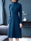 olcso Print Dresses-Női Alap Kötött Ruha Egyszínű Térdig érő